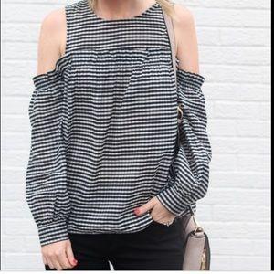 H&M gingham cold shoulder top 8 black white